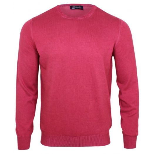 Raspberry Cotton Lightweight Crew Neck Sweater