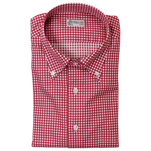 Red and White Gingham Check Cotton Shirt