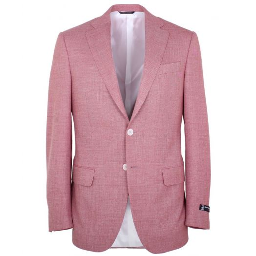 Red & Cream Basket Weave Wool Blazer