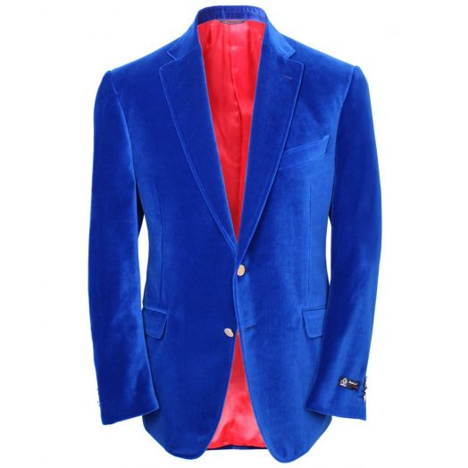 Royal Blue Cotton Velvet Blazer