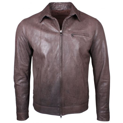 Brown Vegetable Tanned Short Leather Jacket