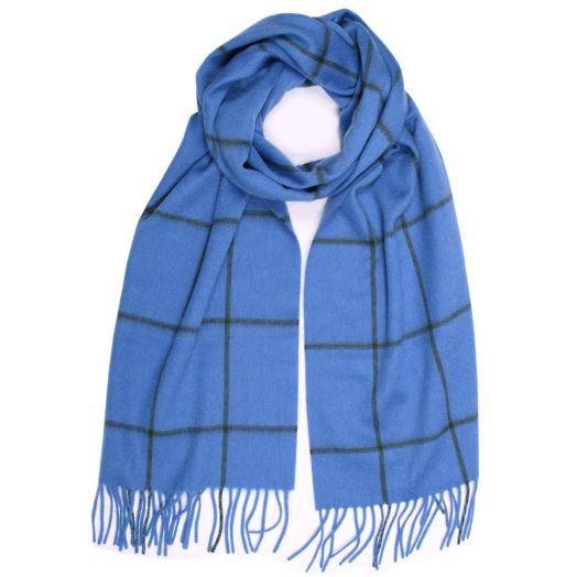 Sky Blue 100% Pure Cashmere Windowpane Check Scarf