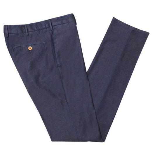 Blue Denim Cotton Stretch Chino