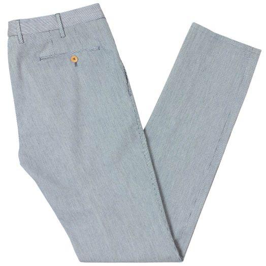 Navy Stripe Cotton Slim Fit Chino