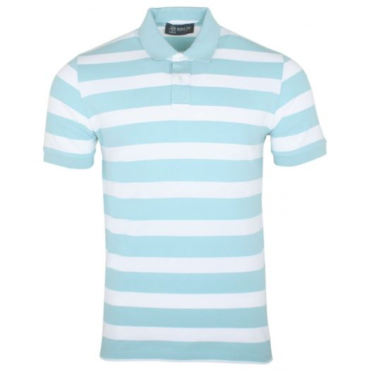 Turquoise White 100% Cotton Polo Shirt