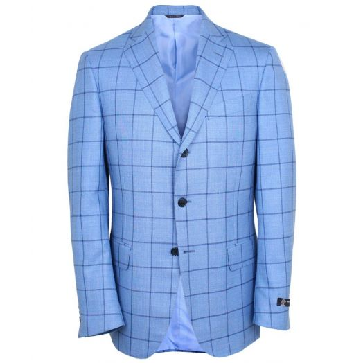 Blue Windowpane Check Blazer