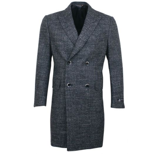 Double Breasted Wool, Cashmere and Linen Overcoat