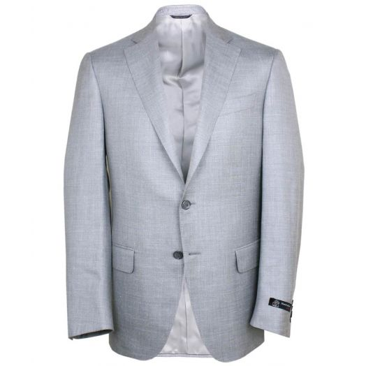 Silver Wool, Silk and Linen Blend Blazer