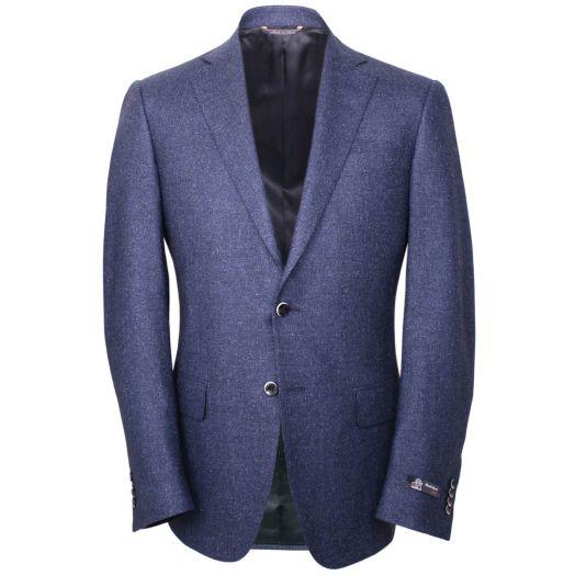 Navy Textured Weave Silk and Wool Blend Blazer
