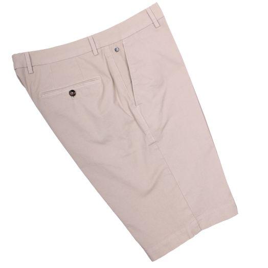 Beige Cotton Stretch Slim Fit Chino Shorts
