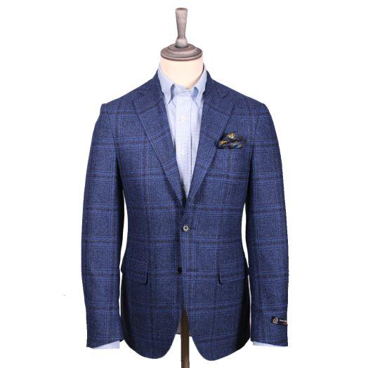 Blue & Brown Check Winter Wool Jacket