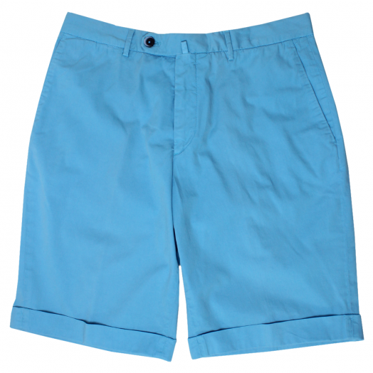 Blue Cotton Stretch Slim Chino Shorts