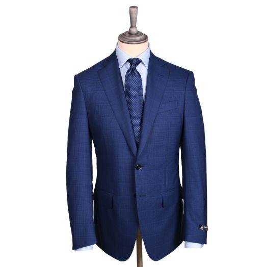 Blue Double-Twist Weave Virgin Wool Summer Suit