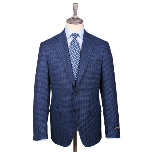 Blue Micro-Check Wool Jacket