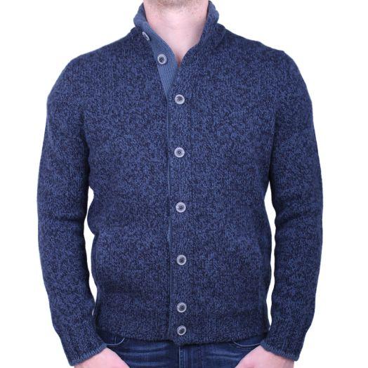 Blue Mix Knitted Virgin Wool Cardigan