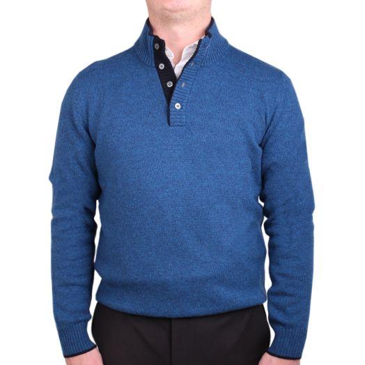 Blue & Navy Half-Button Virgin Wool Sweater