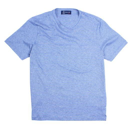 Blue Striped Mercerized Cotton T-Shirt