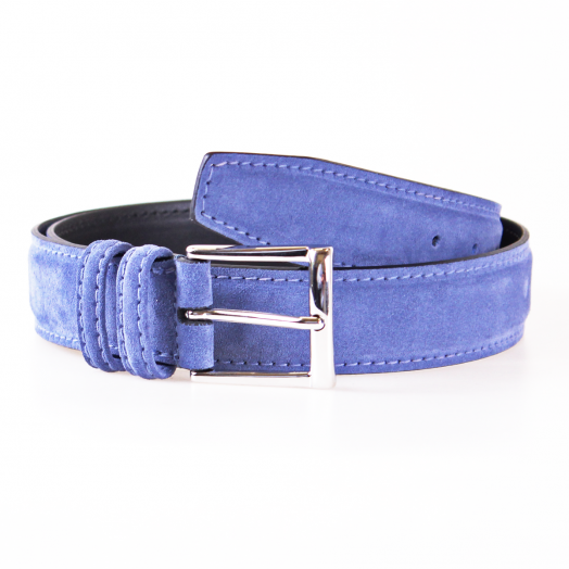 Blue Suede & Silver Buckle Belt