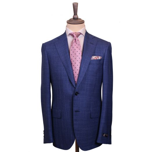 Blue Textured Weave Wool & Silk Jacket