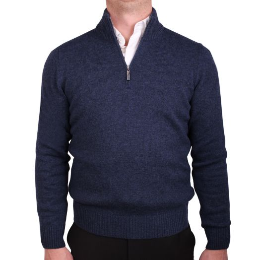 Blue Virgin Wool & Cashmere Blend Zip Neck Sweater