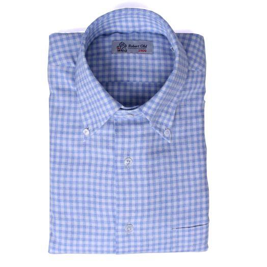Blue & White Check Long Sleeve Cashmerello Shirt