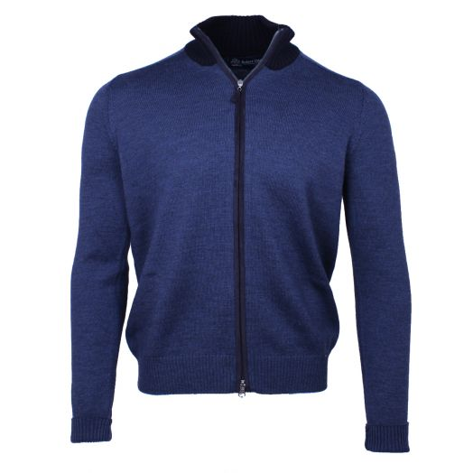 Blue Wool & Alcantara Full Zip Cardigan