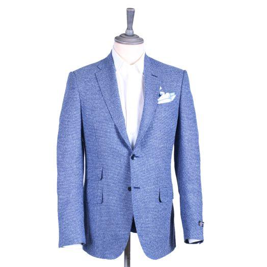 Blue Wool Cotton Blend Woven Blazer