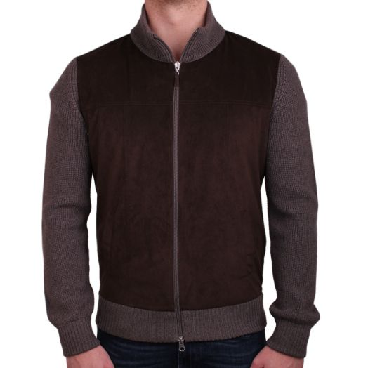 Brown Alcantara & Grey Wool Full-Zip Cardigan