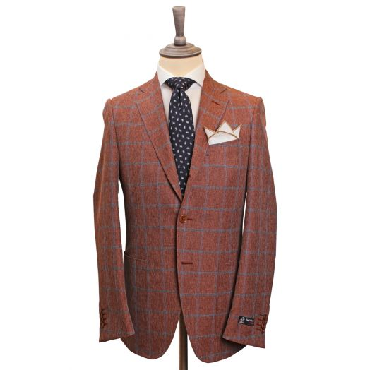 Brown & Blue Check Unlined Wool Blend Jacket