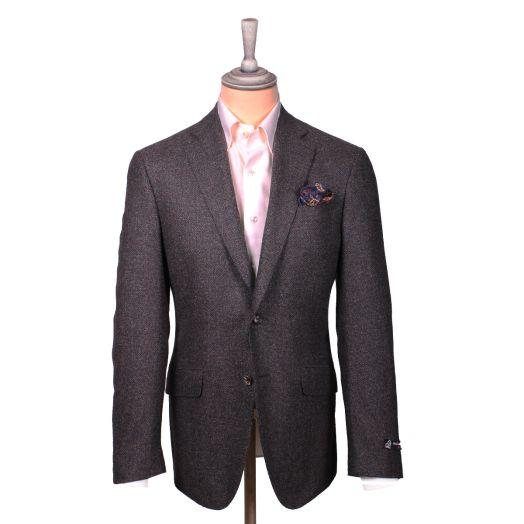 Brown Bouclé Wool, Silk & Cashmere Blend Jacket