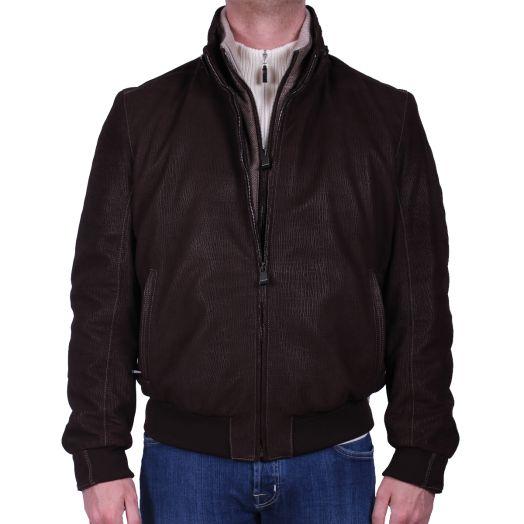 Brown Soft Grain Lambskin Nubuck Suede Jacket