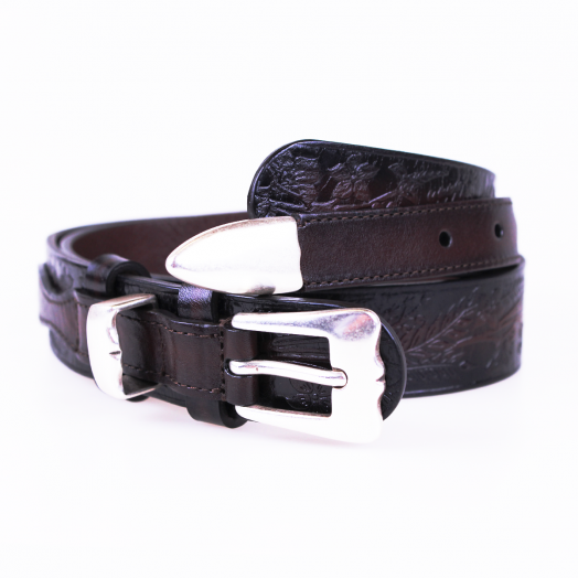 Brown Patterned Calf Leather Brass Buckle Belt