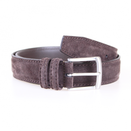 Brown Suede & Silver Buckle Belt