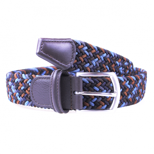 Blue & Brown Woven Textile Stretch Belt