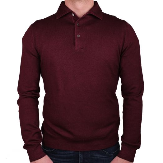 Burgundy Garment Dyed Wool Polo Sweater