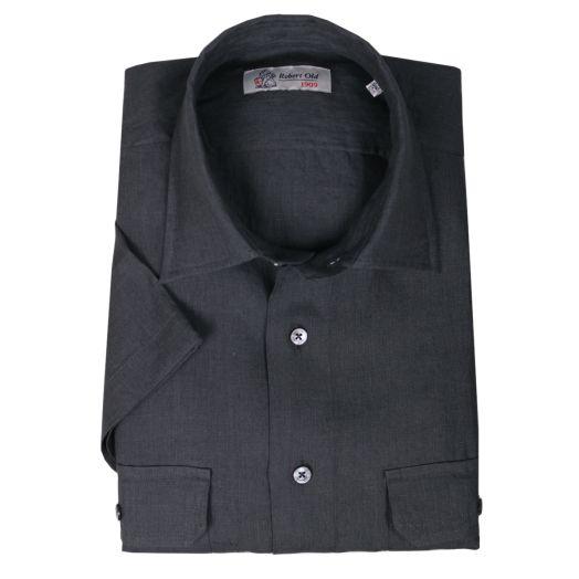 Charcoal Slate Irish Linen Short Sleeve Shirt