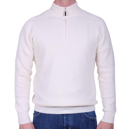 Cream Quarter Zip Virgin Wool Sweater