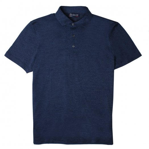 Washed Navy Cotton Piquet Polo Shirt