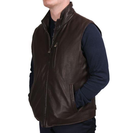 Dark Brown Wool Lined Leather Gilet