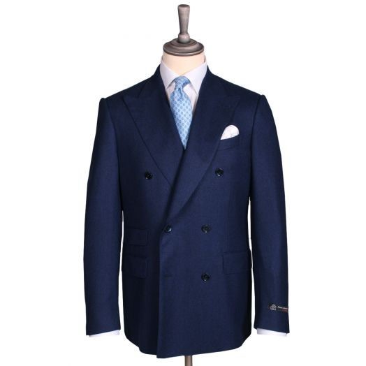 Dark Navy Wool Flannel Double-Breasted Suit