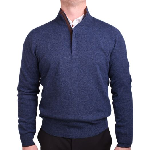 Denim Blue Wool & Cashmere Blend Zip-Neck Sweater