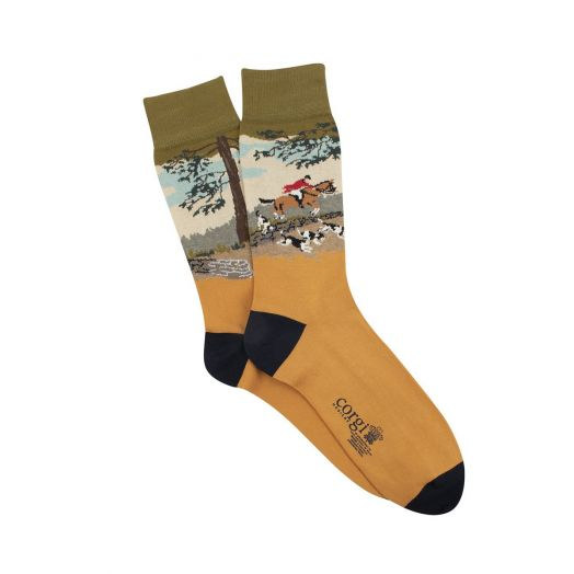 Gold 'Countryside Hunt' Premium Cotton Socks