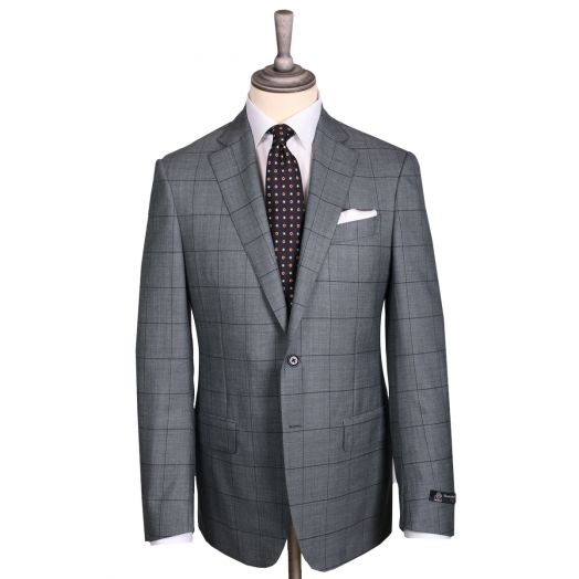 Grey & Black Windowpane Check Sharkskin Wool Suit