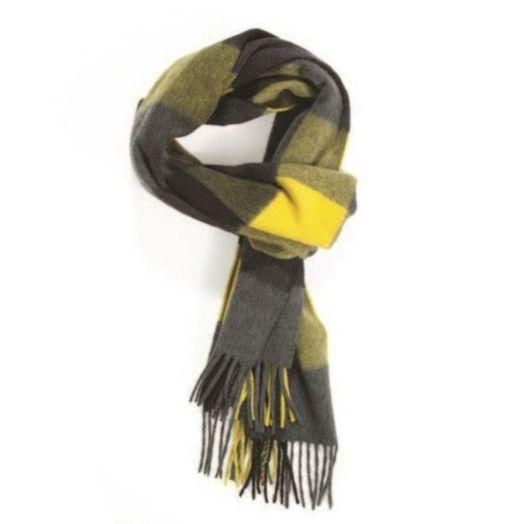 Grey, Black & Yellow Block Check Cashmere Scarf
