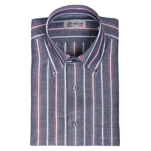 Grey, Red & White Stripe Zephir Shirt