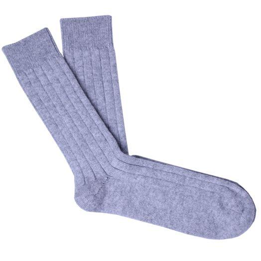 Grey Cashmere Blend Ribbed Socks
