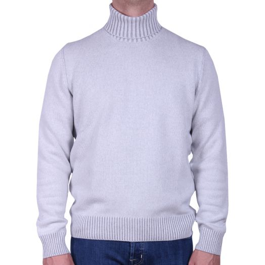 Ice Grey Wool & Cashmere Blend Roll Neck Sweater