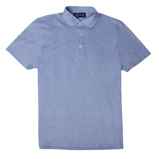 Light Blue Cotton Piquet Polo Shirt