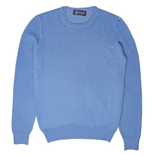 Aqua Waffle Knit Crew Neck Sweater