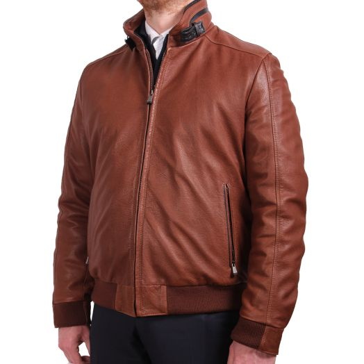 Light Brown Distressed Lambskin Leather Jacket